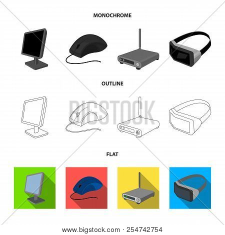 Monitor, Mouse And Other Equipment. Personal Computer Set Collection Icons In Flat, Outline, Monochr
