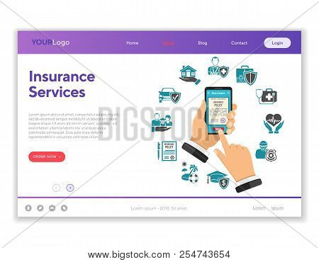 Concepts Online Insurance Services. Man Holding Smartphone And Buying Insurance Policy. Flat Style I