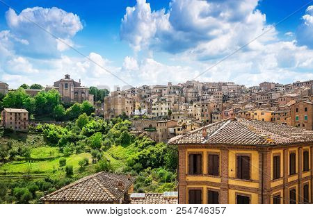 Panoramic View At The Skyline Of Siena, Italy
