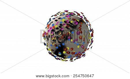 Creative Abstract Global Ecology And Environment Protection Business Concept. Planet Of Color Flower