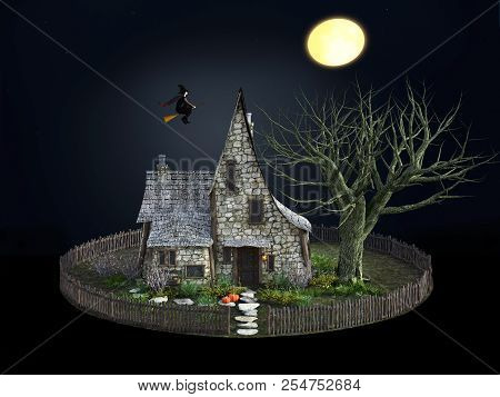 3d Rendering Of A Spooky Witch House At Night With Halloween Pumpkins, A Flying Witch And A Full Moo