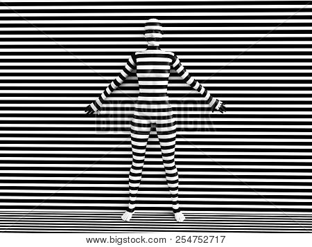 3d Rendering Of A Woman Trying To Blend In With The Black And White Striped Background, Afraid To Sh