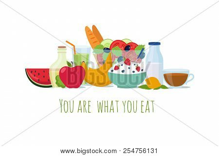 Healthy Balance Diet Food. Best Meals For Life Vector Background. Illustration Of Nutrition Healthy