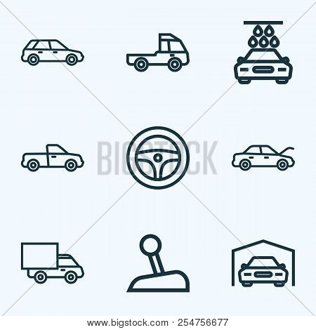 Car Icons Line Style Set With Pickup, Truck, Prime-mover And Other Stick Elements. Isolated Vector I