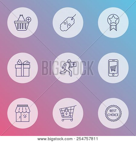 E-commerce Icons Line Style Set With Delivery Man, Gift, Storefront And Other Sale Tag Elements. Iso