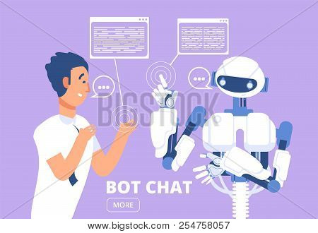 Chatbot Concept. Man Chatting With Chat Bot. Customer Support Service Vector Illustration. Chat With