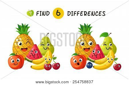 Finding Differences. Children Game With Happy Cartoon Fruits. Vector Illustration For Kids Book. Fru
