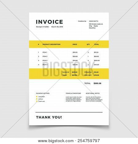 Invoice Template. Quotation Table Paper Prder For Bookkeeping Services. Vector Document Bookkeeping