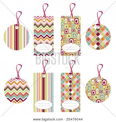 tags, colorful seamless patterns with fabric texture