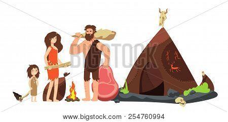 Cartoon Caveman Family. Prehistoric Neanderthal Hunters And Kids. Ancient Homo Sapiens Vector Illust