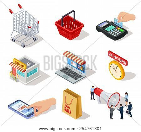 Isometric Shopping Icons. Ecommerce Store, Online Shop And Internet Purchasing 3d Vector Marketing S