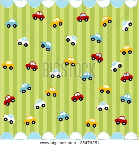 Cute seamless pattern with little cars , baby card