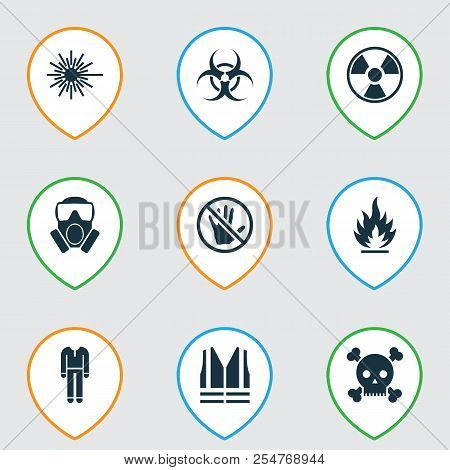 Protection Icons Set With Bio-hazard, Protective Clothing, Caution And Other Nuclear Elements. Isola