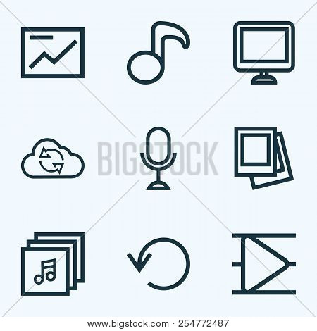 Media Icons Line Style Set With Musical Note, Replay, Playlist And Other Quaver Elements. Isolated V