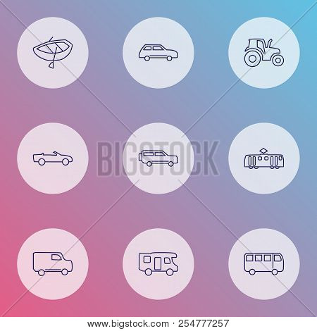 Transit Icons Line Style Set With Tractor, City Car, Campervan And Other Train Elements. Isolated Ve