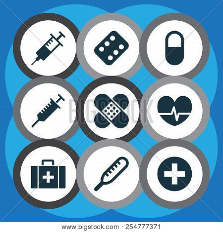 Antibiotic Icons Set With Medicament, Pulse, Stings And Other Rhythm Elements. Isolated Vector Illus