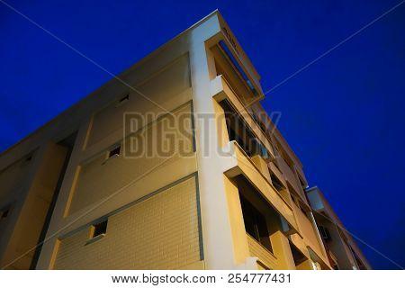Singapore- Jul 16 2018:  Singapore Public Housing Hdb Flats.  Landscape At Night