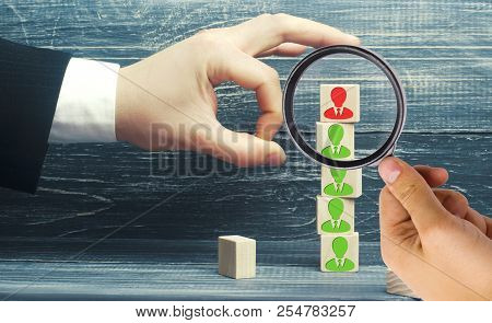 The Businessman Removes / Dismisses The Employee From The Team. Management Within The Team. Wooden B