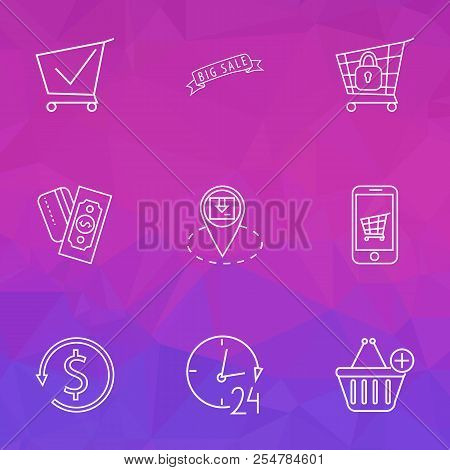 E-commerce Icons Line Style Set With Mobile Shop, Shopping Cart, Add To Cart And Other Support Eleme