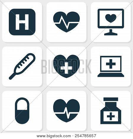 Drug Icons Set With Heart, Computer, Medicine And Other Drug Elements. Isolated  Illustration Drug I
