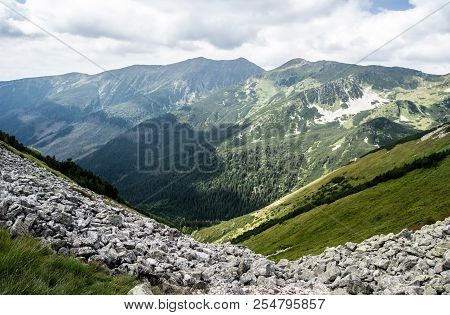 Western Tatras Mountains With Partly Rocky Peaks (baranec, Smrek And Others), Stones, Meadows And Bl