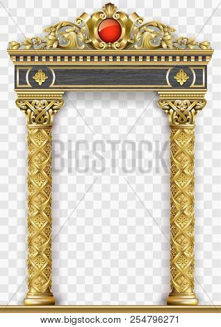 Golden Luxury Classic Arch With Columns. The Portal In Baroque Style. The Entrance To The Fairy Pala