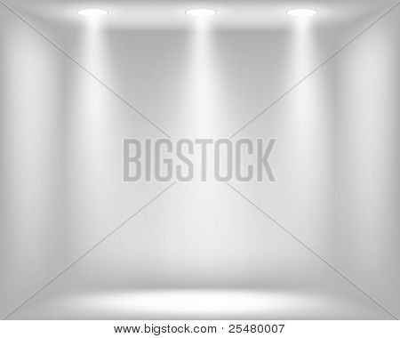 Light grey background with spotlights. Vector eps10 illustration