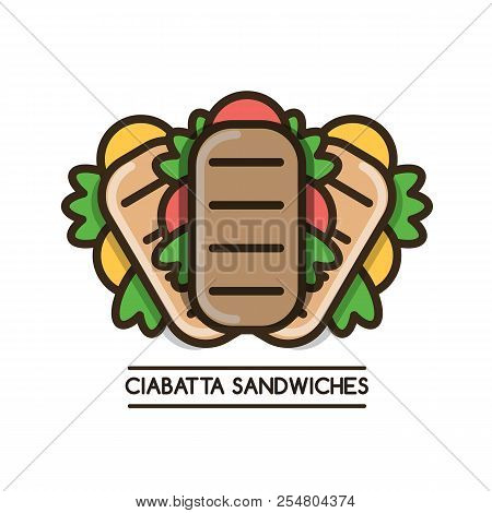 Food Logotype With Three Ciabatta Sandwiches And Text