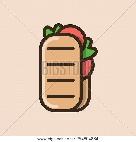 Ciabatta Sandwich With Bacon And Salad Leaves. Colorful Isolated Vector Icon In Flat Style With Outl