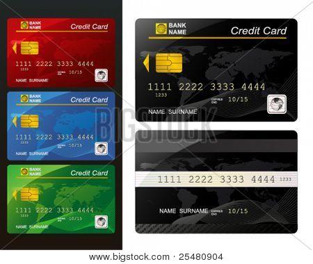 Zestaw kart kredytowych.