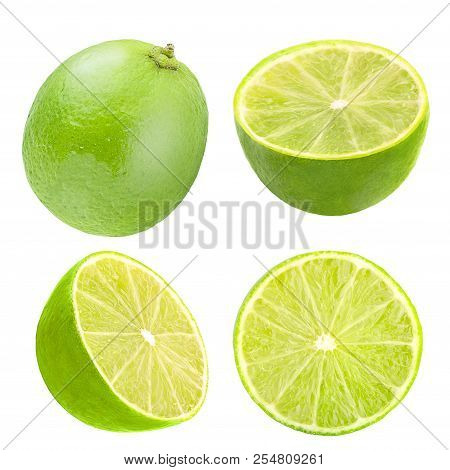 Lime Fruit And Slices Isolated On White