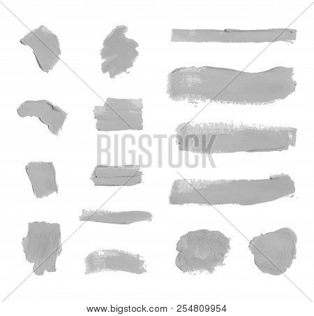 Vector Set of Colorless Gray Paint Smudges, Cosmetics Texture, Design Element Isolated on White Background. poster
