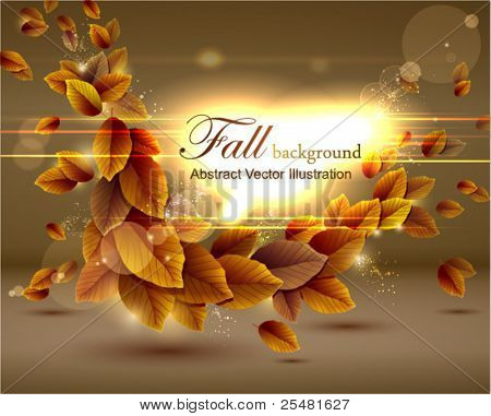 Autumn background with lights. Vector illustration. Eps 10.