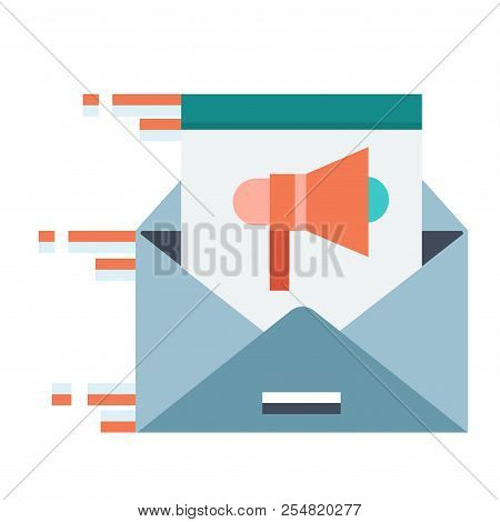 Moving Email With A Speakerphone Icon Vector Illustration In Flat Color Design