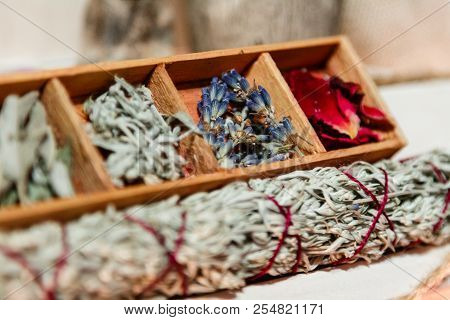 Set Of Dried Herbs Delphinium, Sage, Wormwood, Lavender, Rose. Wormwood Wand