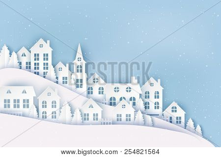 Winter Urban Countryside Landscape, Village With Cute Paper Houses, Pine Trees And Snow. Merry Chris