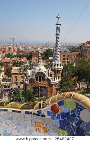 "BARCELONA, SPAIN - JUNE 29: Famous building at the entrance of Park Guell, designed by Gaudi,on June 29,2010. Part of the UNESCO World Heritage Site ""Works of Antonio Gaudi"""