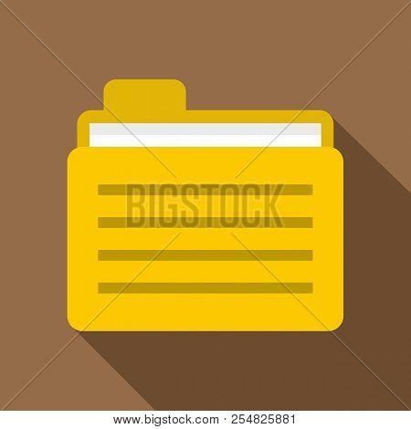 Yellow File Folder Icon. Flat Illustration Of Yellow File Folder Icon For Web Isolated On Coffee Bac