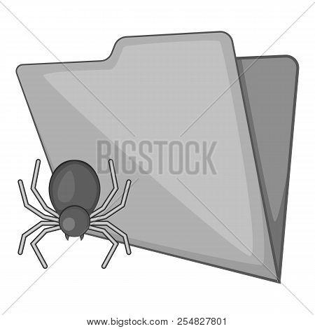 Spider Virus In Folder Icon. Gray Monochrome Illustration Of Spider Virus In Folder Icon For Web