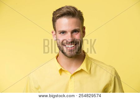 Brilliant Smile. Man Smiling Face Posing Confidently Yellow Background. Man Shop Consultant Looks Ch