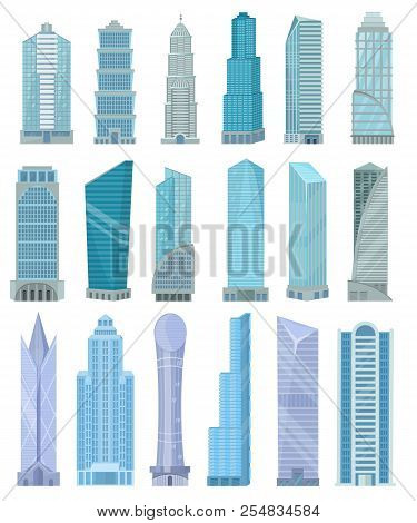 Building Skyscraper In Cityscape Vector City Skyline And Business Officebuilding Of Commercial Compa