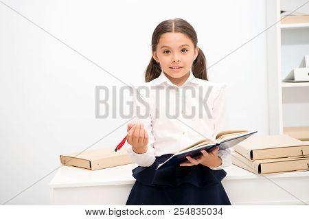 Want To Apply New School Program. Girl Holds Pad Pen Looking For Volunteers. Schoolgirl Studying Inc