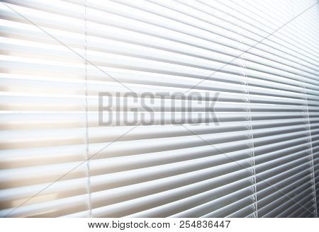 Window Jalousie At Modern Office With Light, Nobody