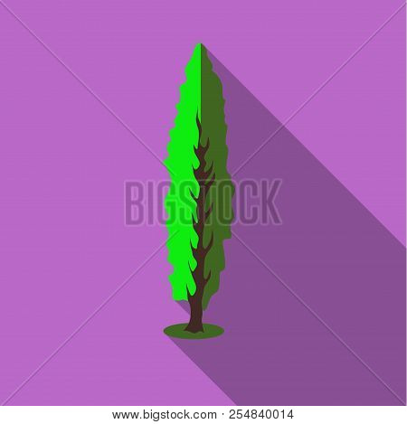 Tall Green Tree Icon. Flat Illustration Of Tall Green Tree Icon For Web