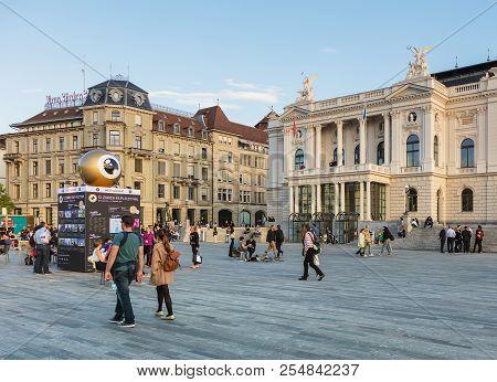 Zurich, Switzerland - September 27, 2017: People On Sechselautenplatz Square, The Meeting Point Of T