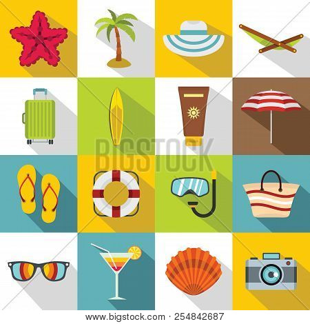 Summer Rest Icons Set. Flat Illustration Of 16 Summer Rest Icons For Web