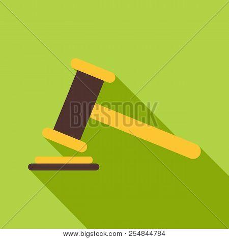 Judge Gavel Icon. Flat Illustration Of Judge Gavel Icon For Web Isolated On Green Background