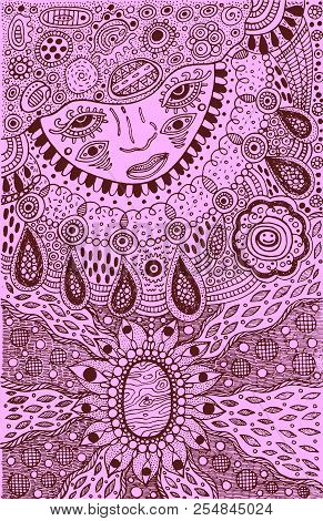 Graphic Art With Shamanic Face And Mineral Ornaments. Doodle Ink