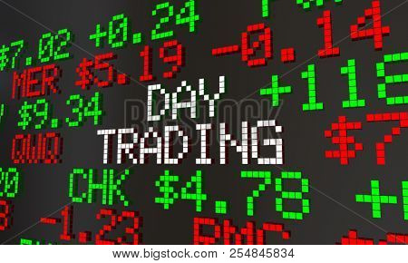Day Trading Stock Market Trader Ticker Prices 3d Animation