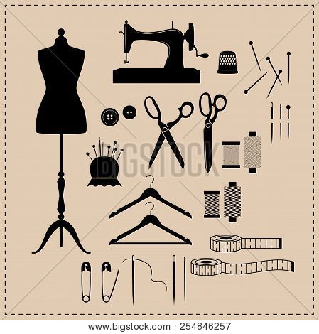 Retro Sewing Kit Icon Set. Black Vintage Sewing Kit Icons. Mannequin, Sewing Machine, Scissors Vinta
